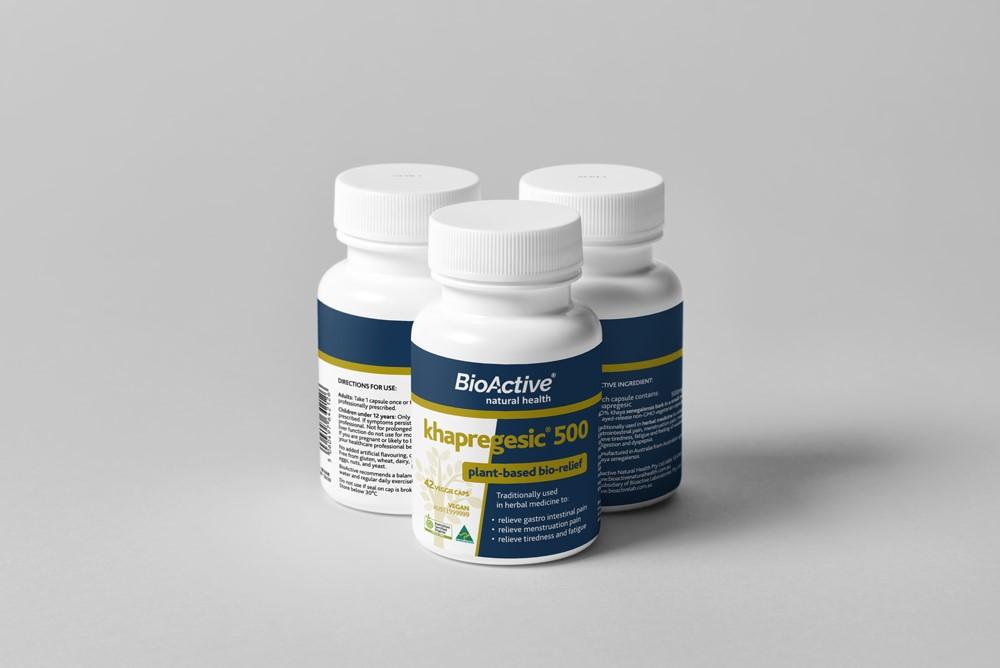 BioActive Khapregesic 500 Bottles triangle 12OCT18